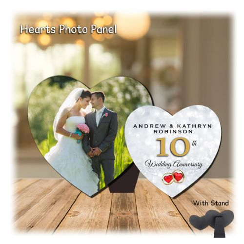 Personalised MDF Hearts Photo Wood Panel Print N10 - Diamond 10th  Wedding Anniversary Keepsake Gift